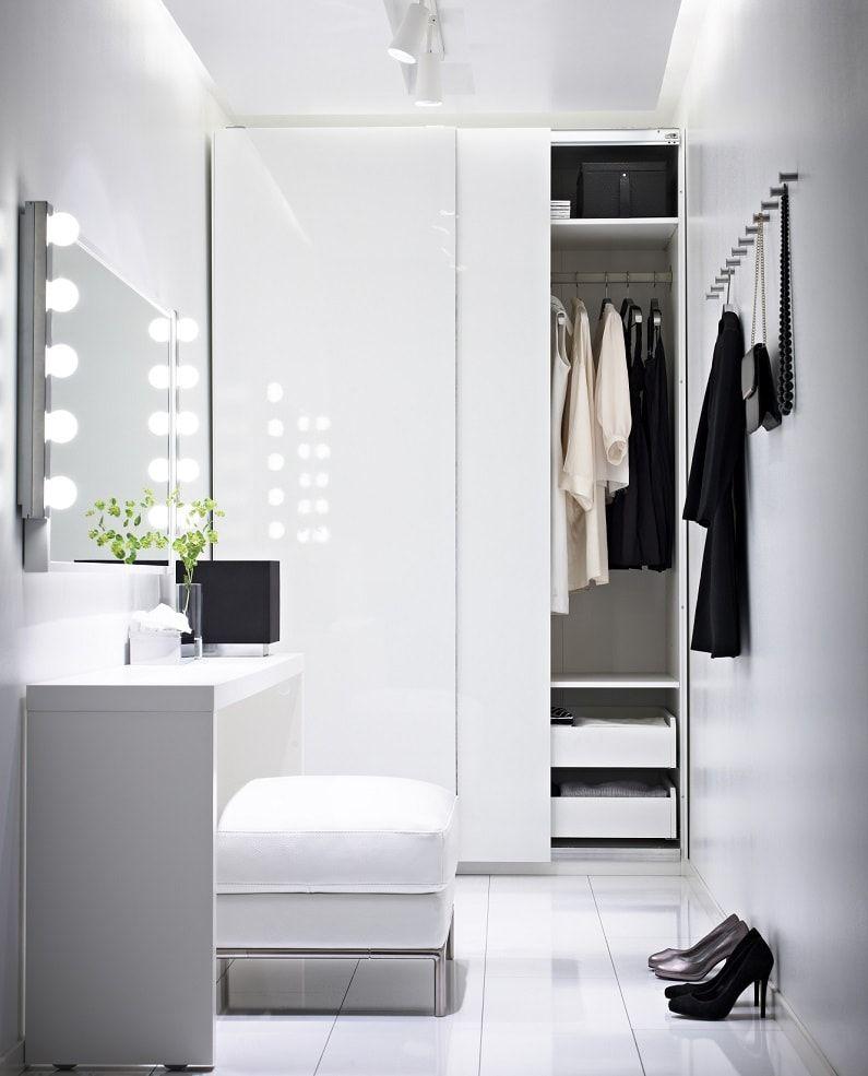 Nicely decorated ultramodern women's boudoir all in white