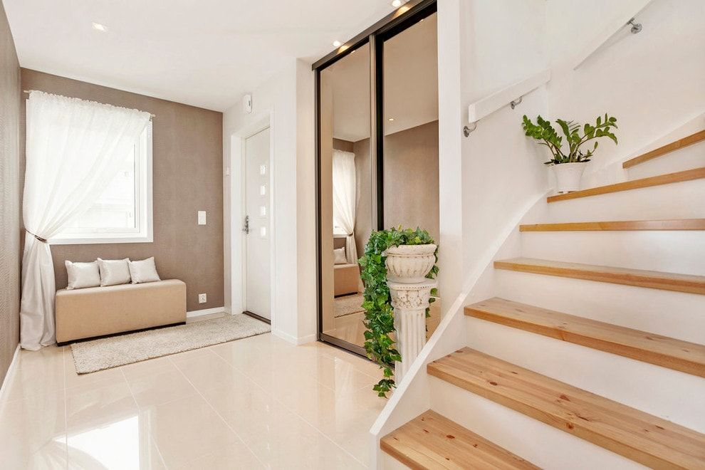 Modern Closet Types & Variants for Hallway Interior with Photos. The mirroring surafces in the white decorated hall