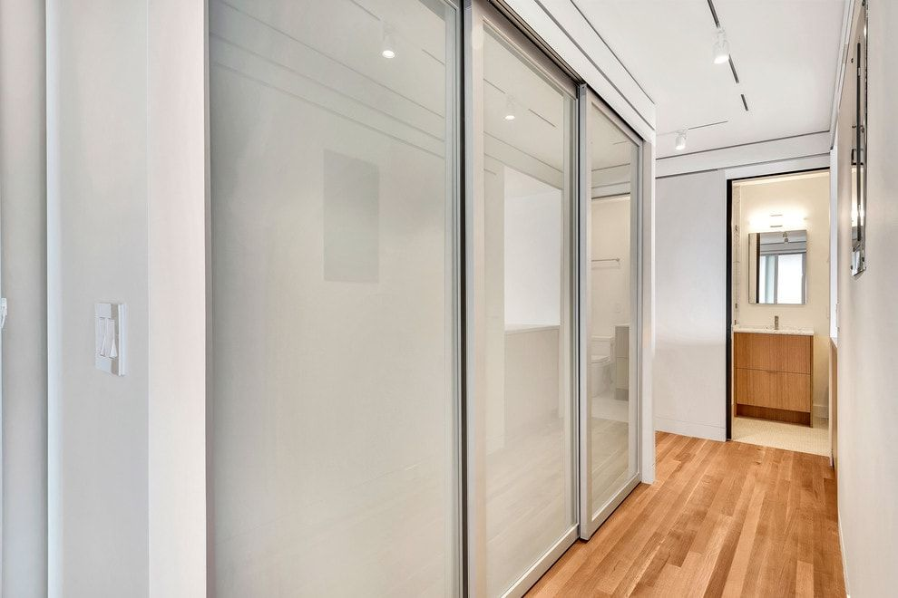 Modern Closet Types & Variants for Hallway Interior with Photos. Three door construction with matted surfaces