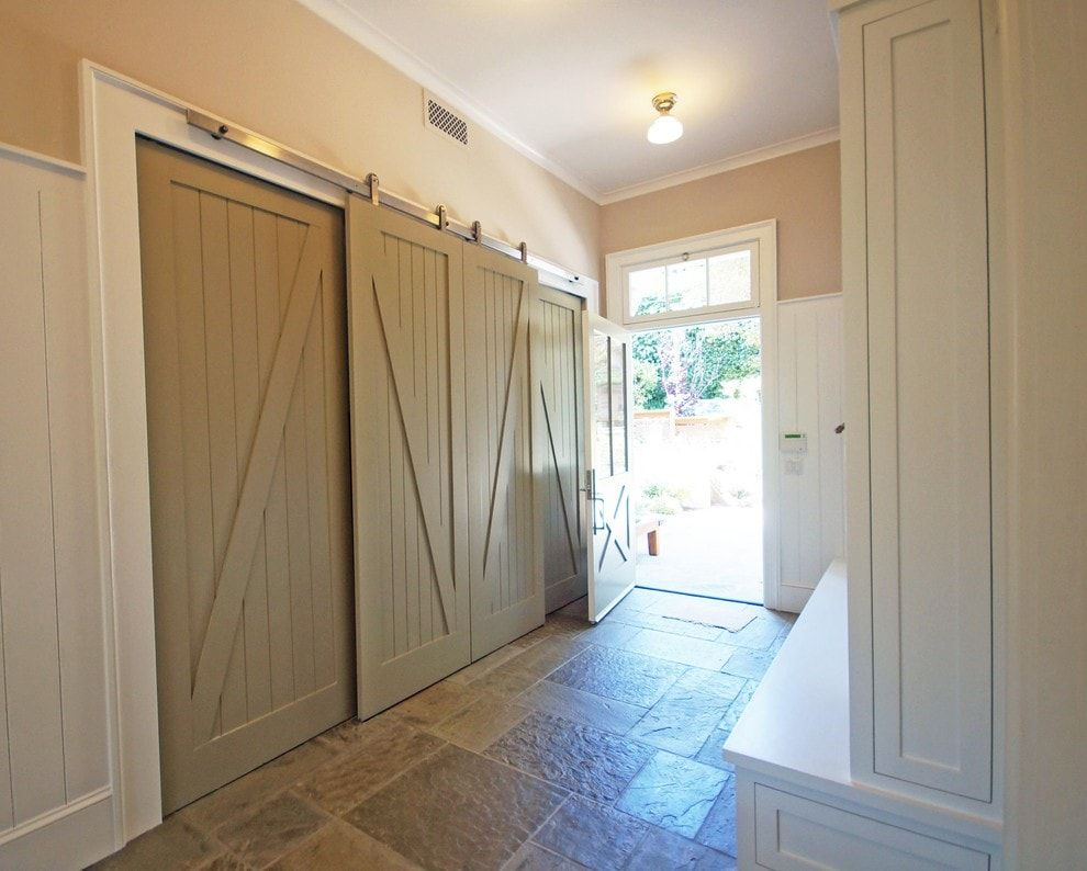 Modern Closet Types & Variants for Hallway Interior with Photos. Rustic styled sliding door on the top guide