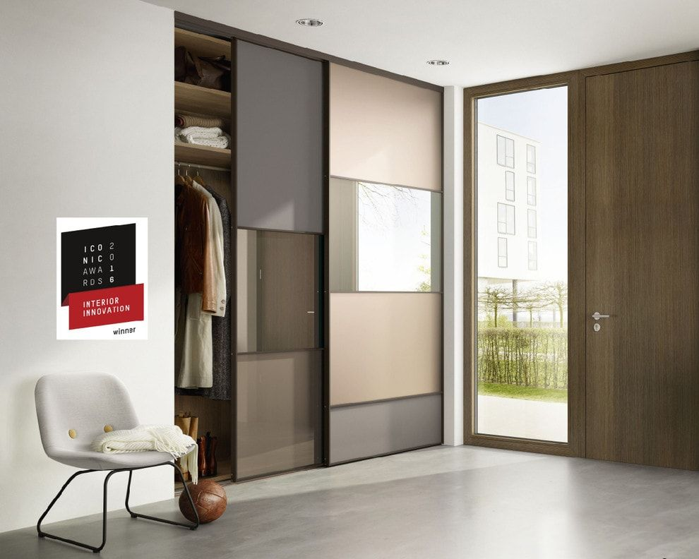 Modern Closet Types & Variants for Hallway Interior with Photos. Glass inserts in the facades
