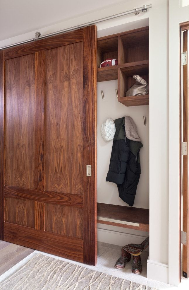 Dark brown noble wood for facades of the hallway cabinet