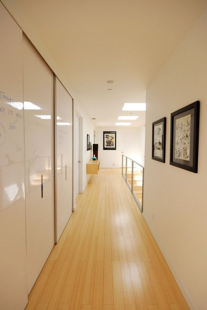 Modern Closet Types & Variants for Hallway Interior with Photos. Typical Modern design with plenty of top diffused   artificial lighting