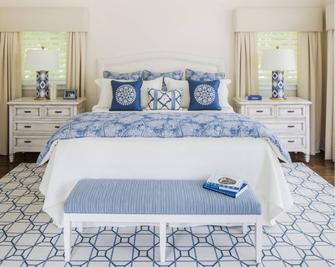 White Bedroom Furniture Set Ideas & Photos. Classic design with the touch of blue Marine notes