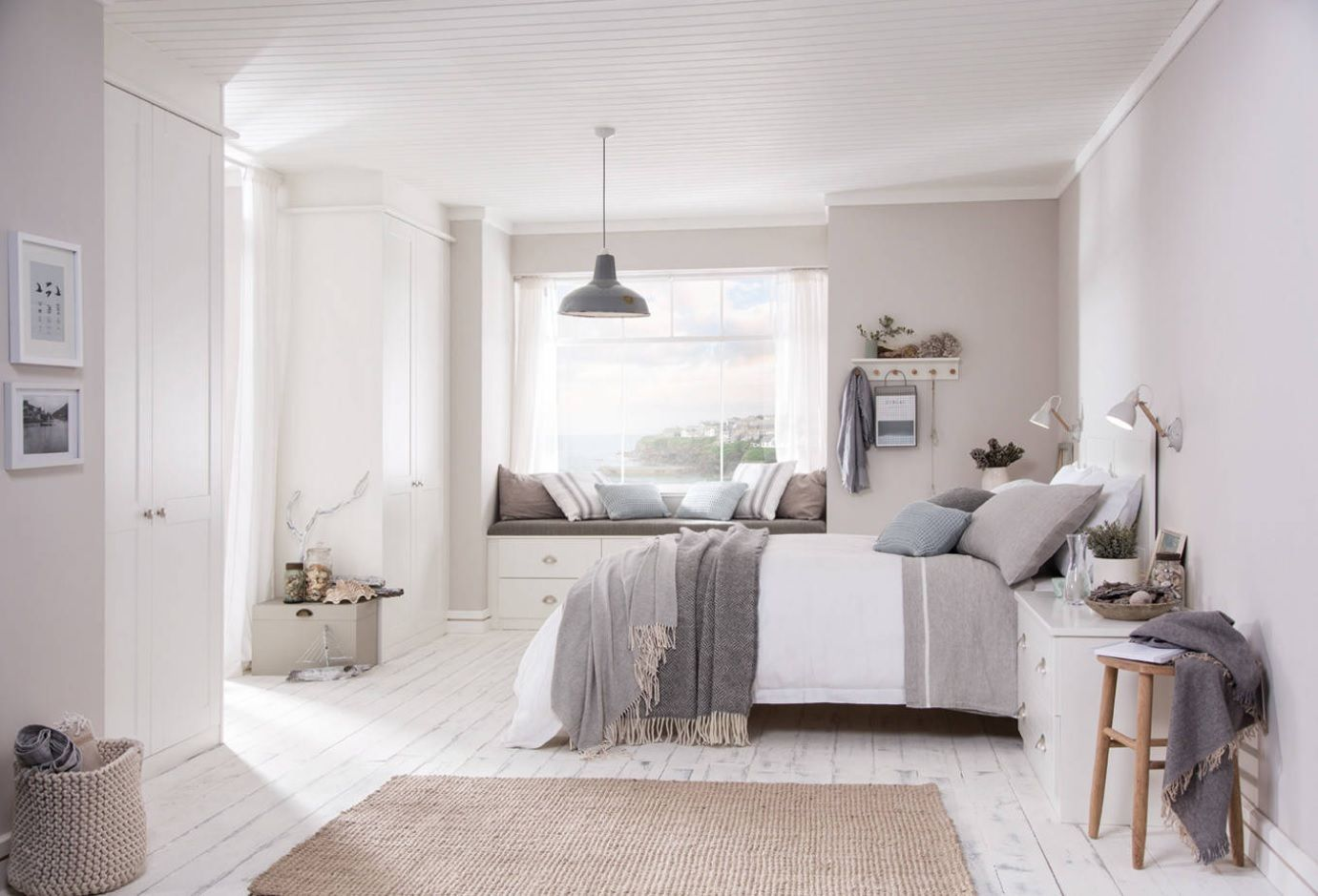 White Bedroom Furniture Set Ideas & Photos. Modern Scandinavian minimalism in creamy finished room