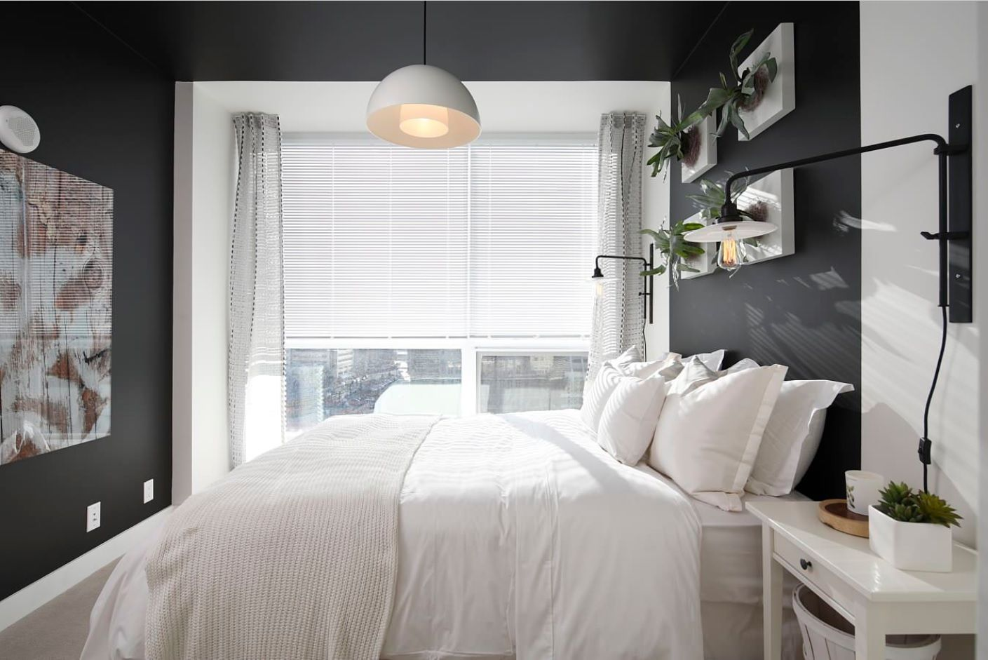 White Bedroom Furniture Set Ideas & Photos. Dark walls for the modern styled light room