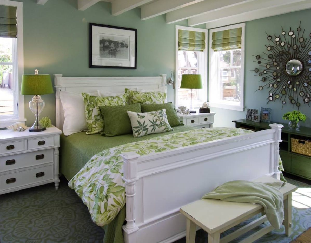 Greenish walls and bedding for the Classic decorated bedroom