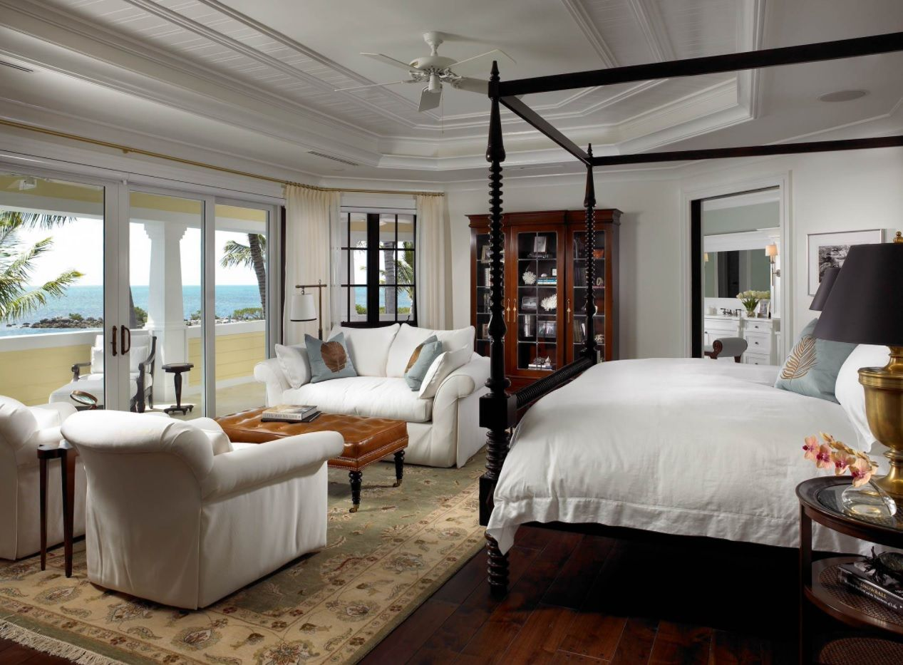 Royal bedroom design with stucco and the canopy king size bed