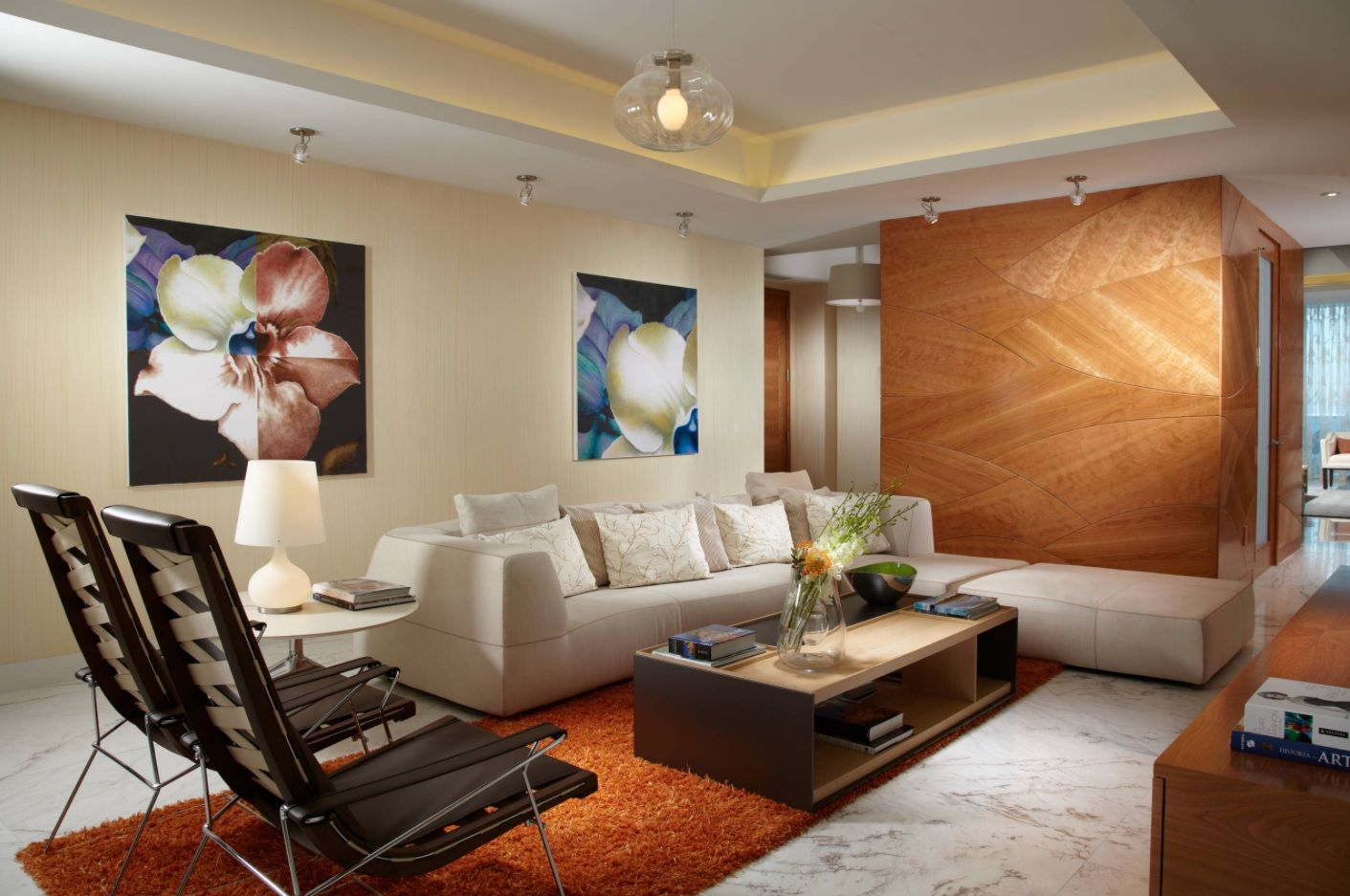 Zen Interior Design Concept for Your Home. Mix of materials and colors in the living room