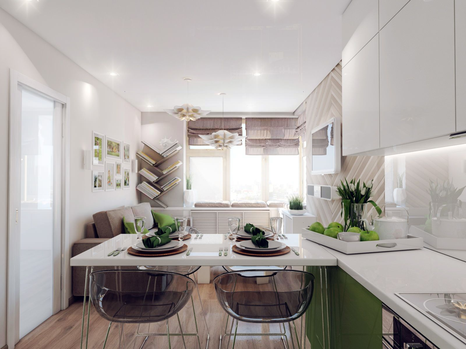 White neat eco design in the combined kitchen-living room