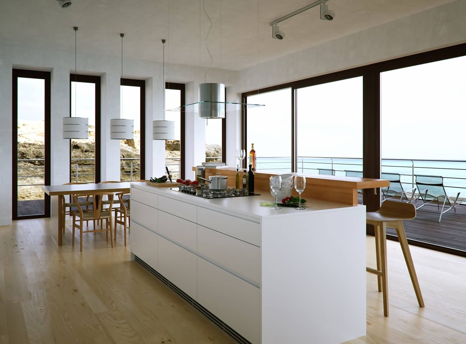 Kitchen in Living Room with Bar Counter. Original Interior Ideas. Open layout with bay panoramic window