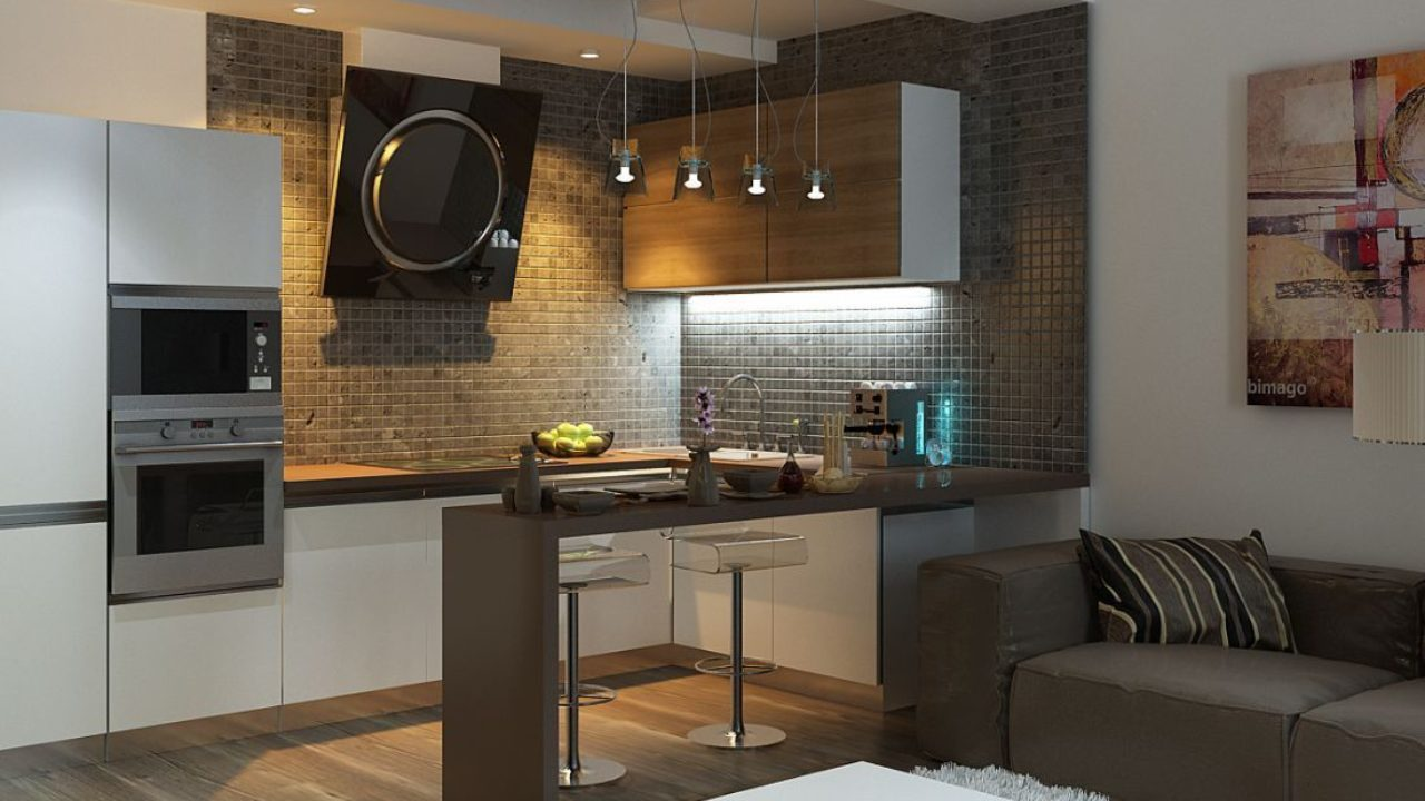Kitchen In Living Room With Bar Counter Original Interior Ideas