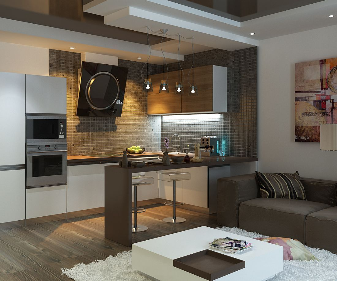 Kitchen in Living Room with Bar Counter. Original Interior Ideas. Gray counter theme and the furniture set in same pattern on hi-tech kitchen