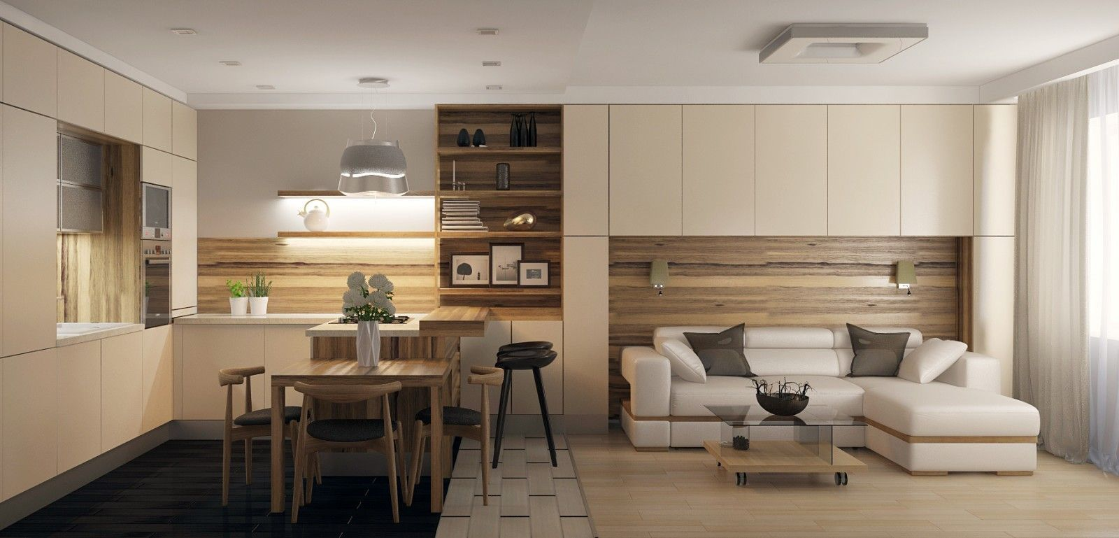 Kitchen in Living Room with Bar Counter. Original Interior Ideas. Creamy space of the minimalistic interior