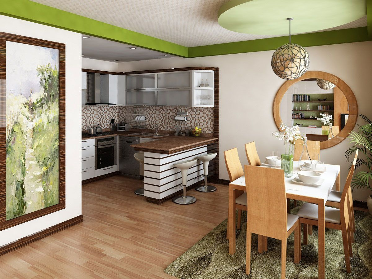 Kitchen in Living Room with Bar Counter. Original Interior Ideas. Greenish theme for the space
