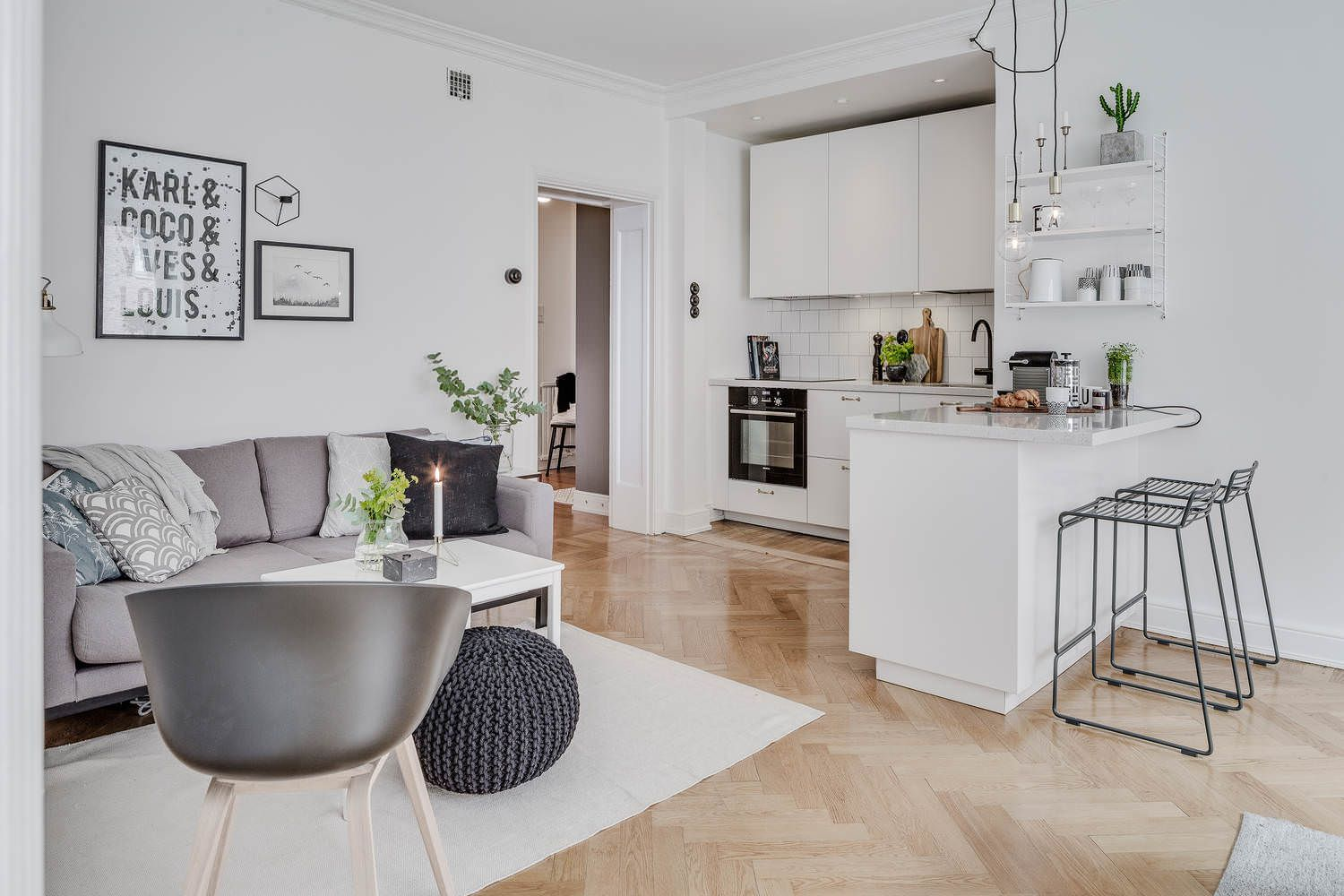 Kitchen in Living Room with Bar Counter. Original Interior Ideas. White color theme with the diluting laminate