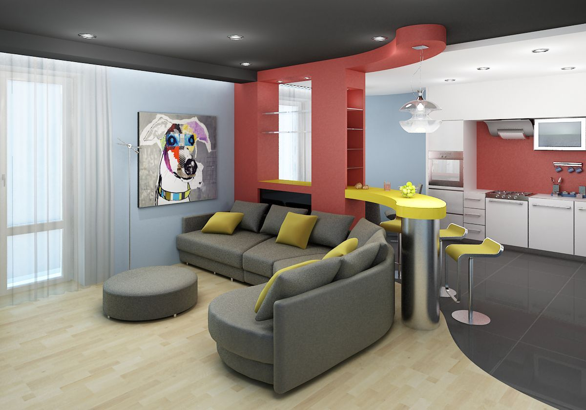 Dark gray color theme in ceiling and upholstered furniture for the combined living room with kitchen zone
