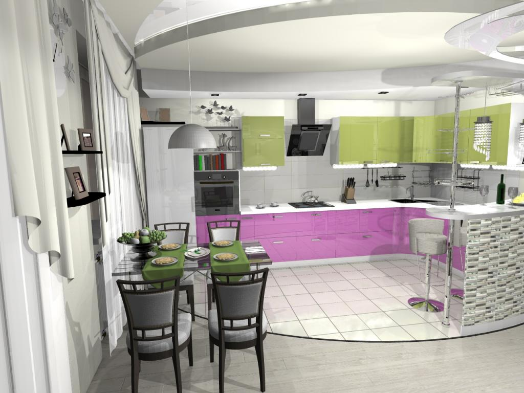 Colorful kitchen set with green top and light crimson bottom