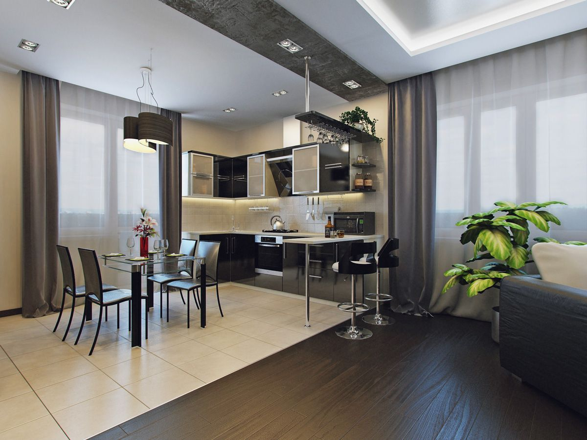 Nicely zoned kitchen space with dark bar and dining zone