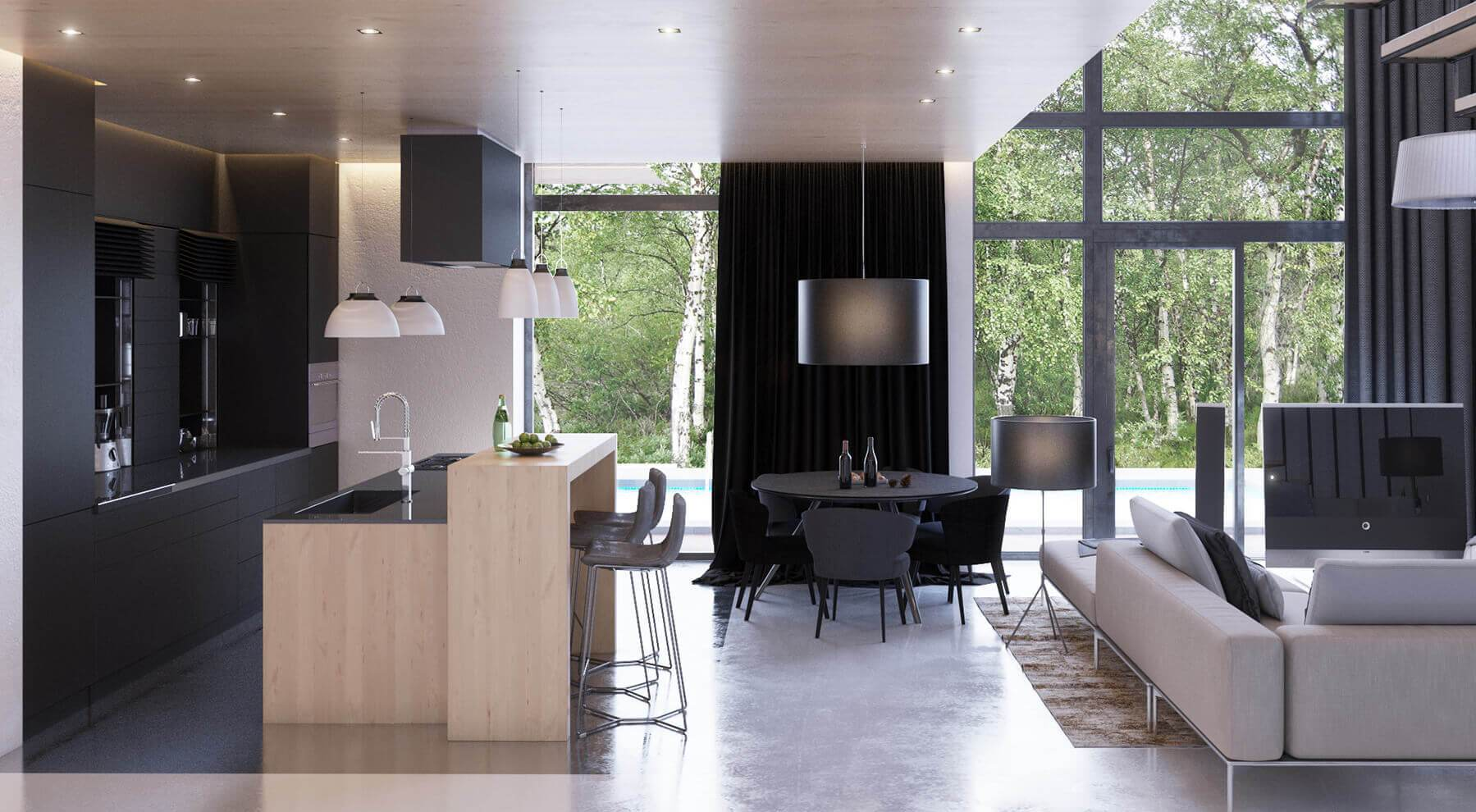 nice hi-tech open space example with light wooden kitchen island as the bar
