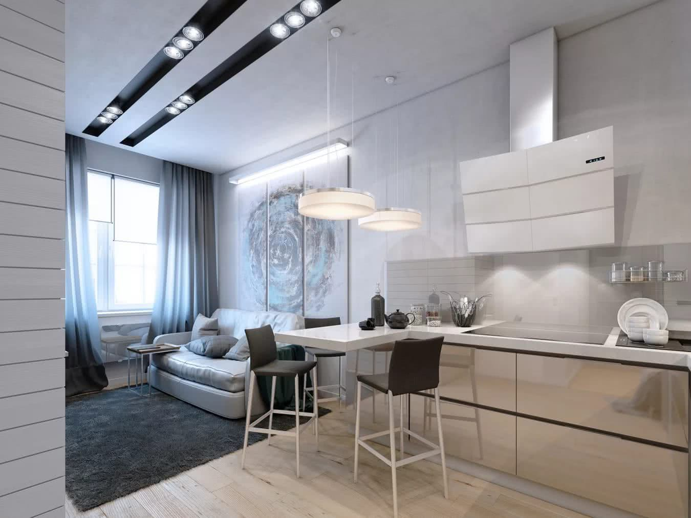 Open layout of the living room with milky kitchen zone and bar counter separates the dining zone