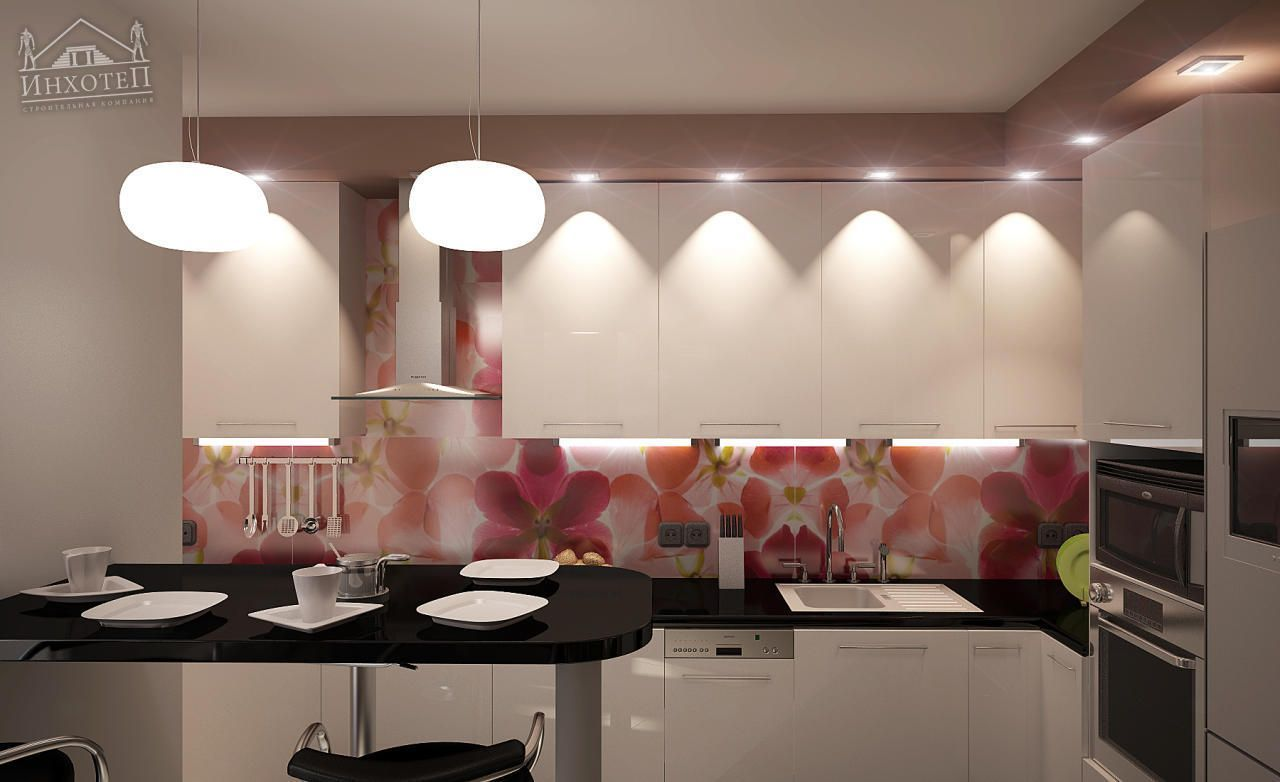 light finished space full of artificial lighting and dark bar counter accent
