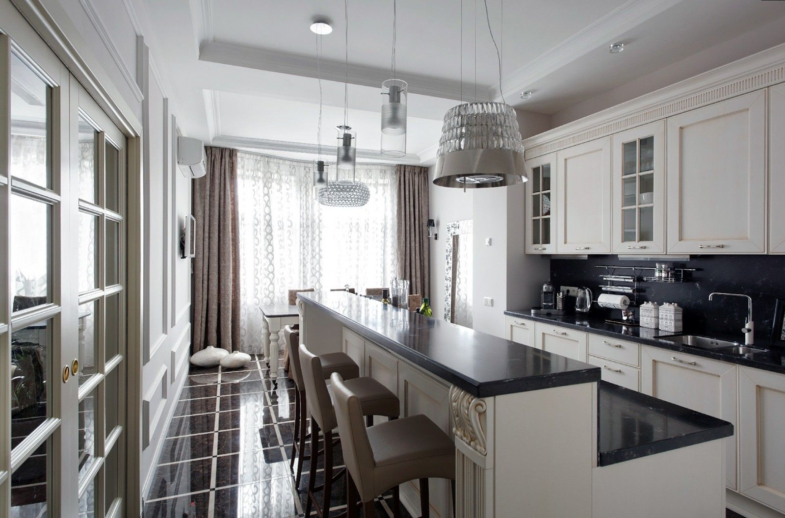 Modern minimalistic style with glancing floor tile and large kitchen island in the center