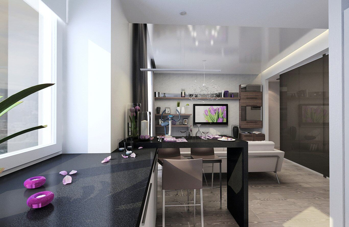 Splendid hi-tech design in the open layout living combined with kitchen