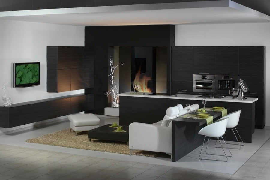 Black and white incredible intermixing in futuristic styled living room