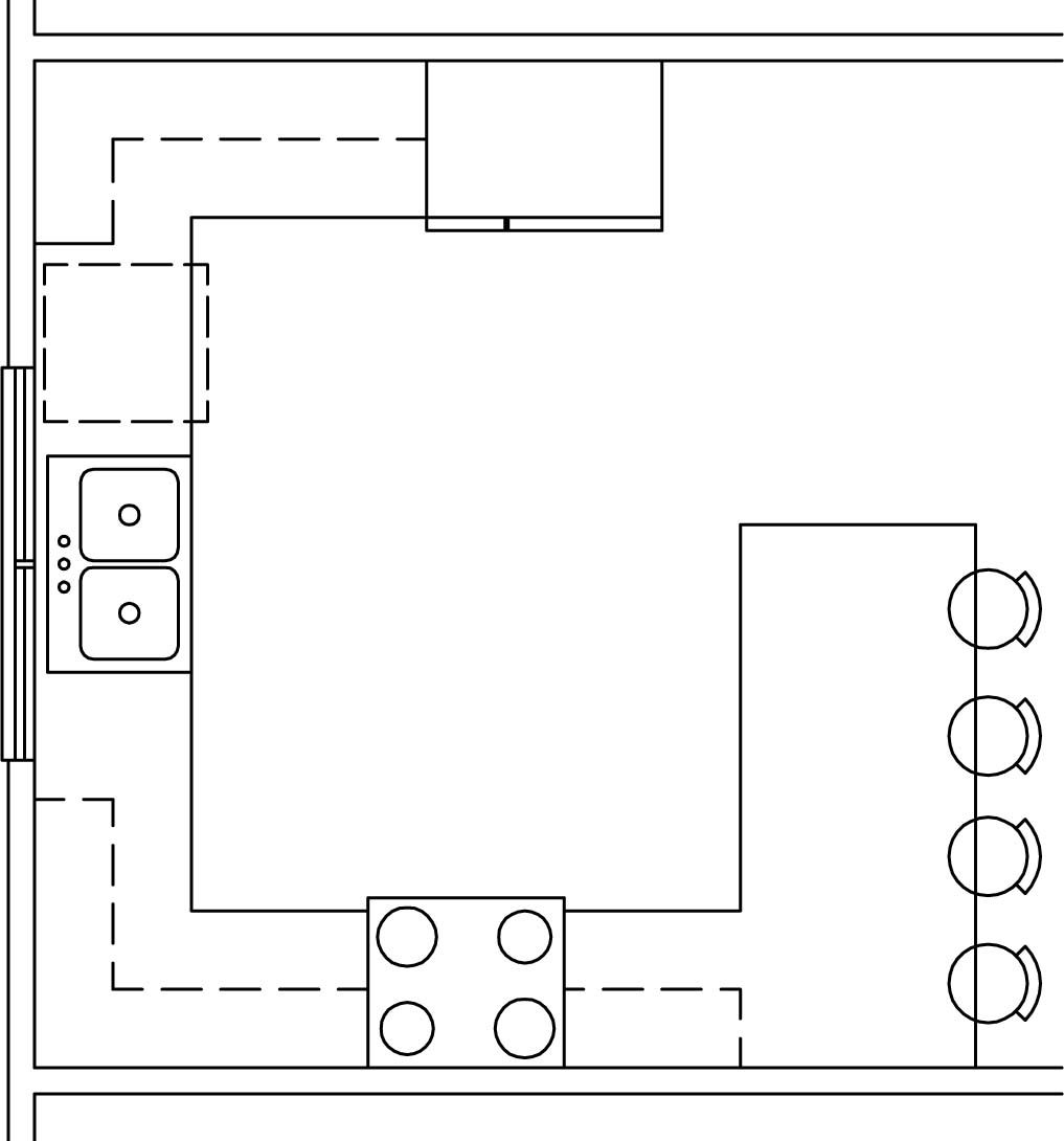 G shaped kitchen floor plan with stools at the bar counter