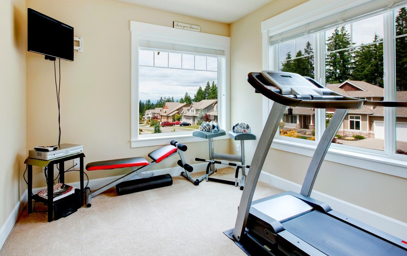 Wide large windows in the home gym room