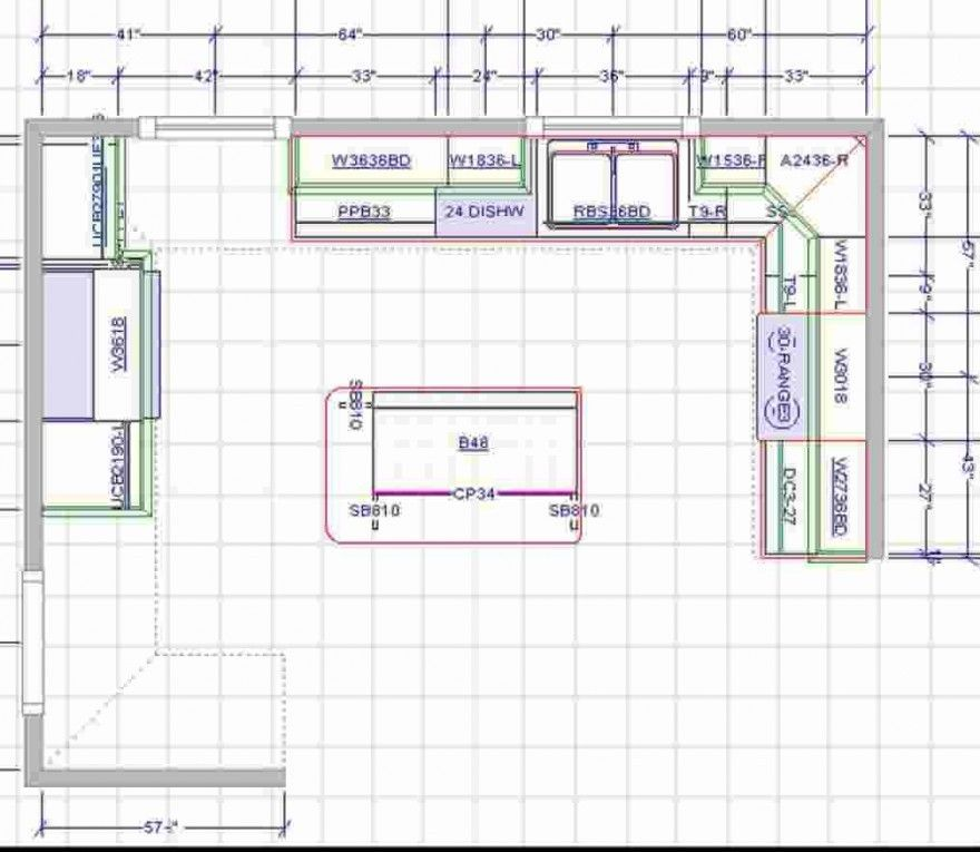 Detailed All-Type Kitchen Floor Plans Review. Composite design with prep zone and separate hob