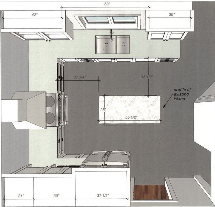 Detailed All-Type Kitchen Floor Plans Review. Classic U shape layout for small space
