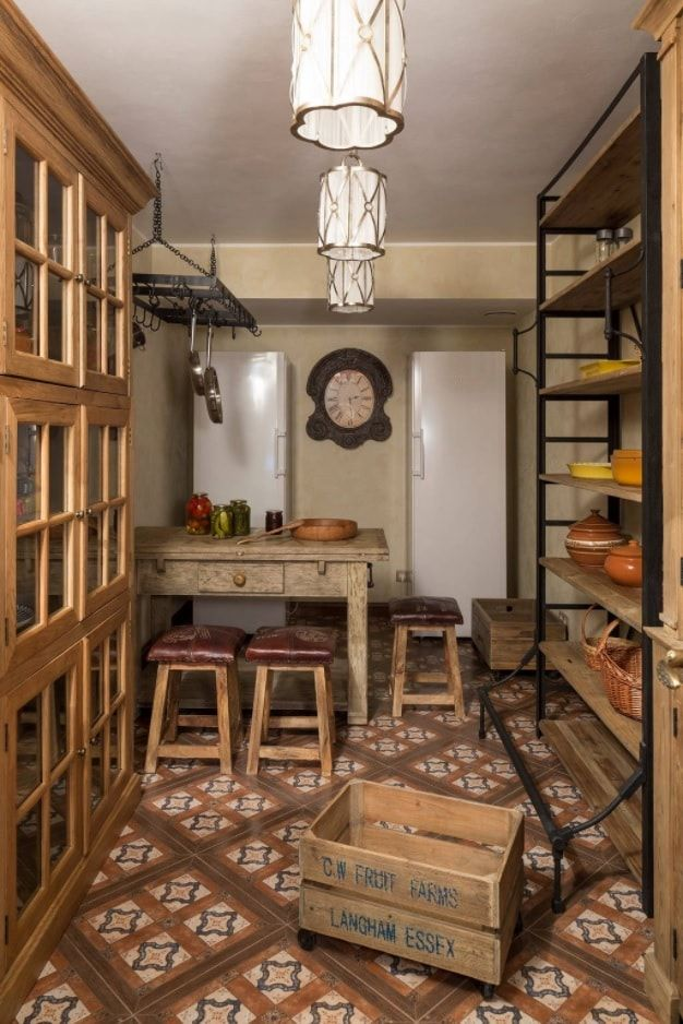 Pantry with lots of storage in Rustic style