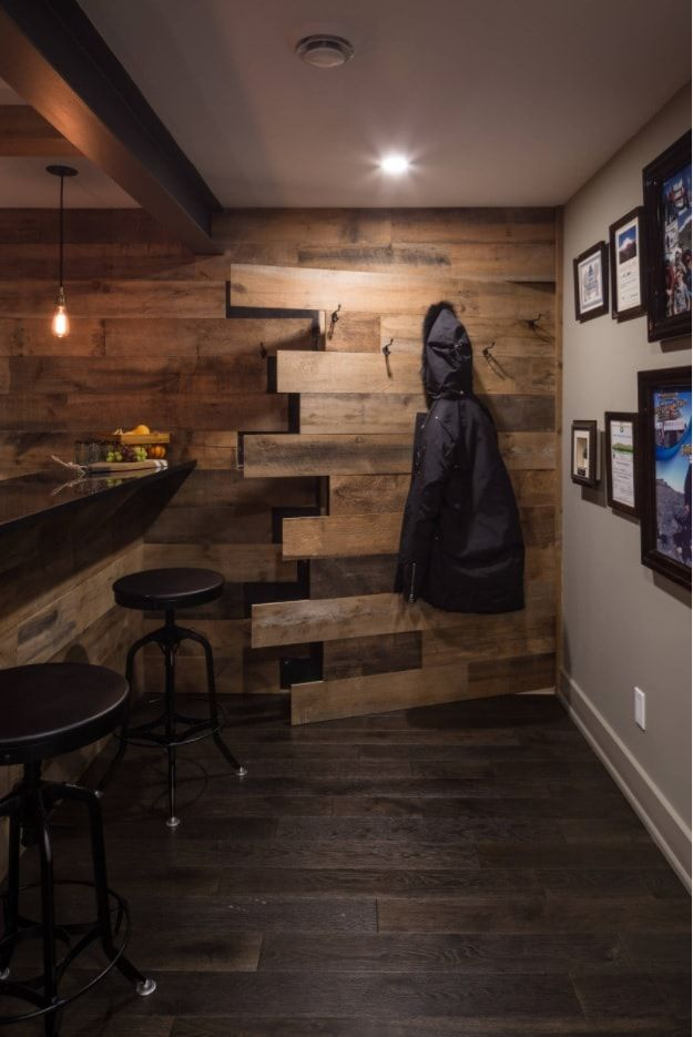 Secret wooden trimmed room with bar counter
