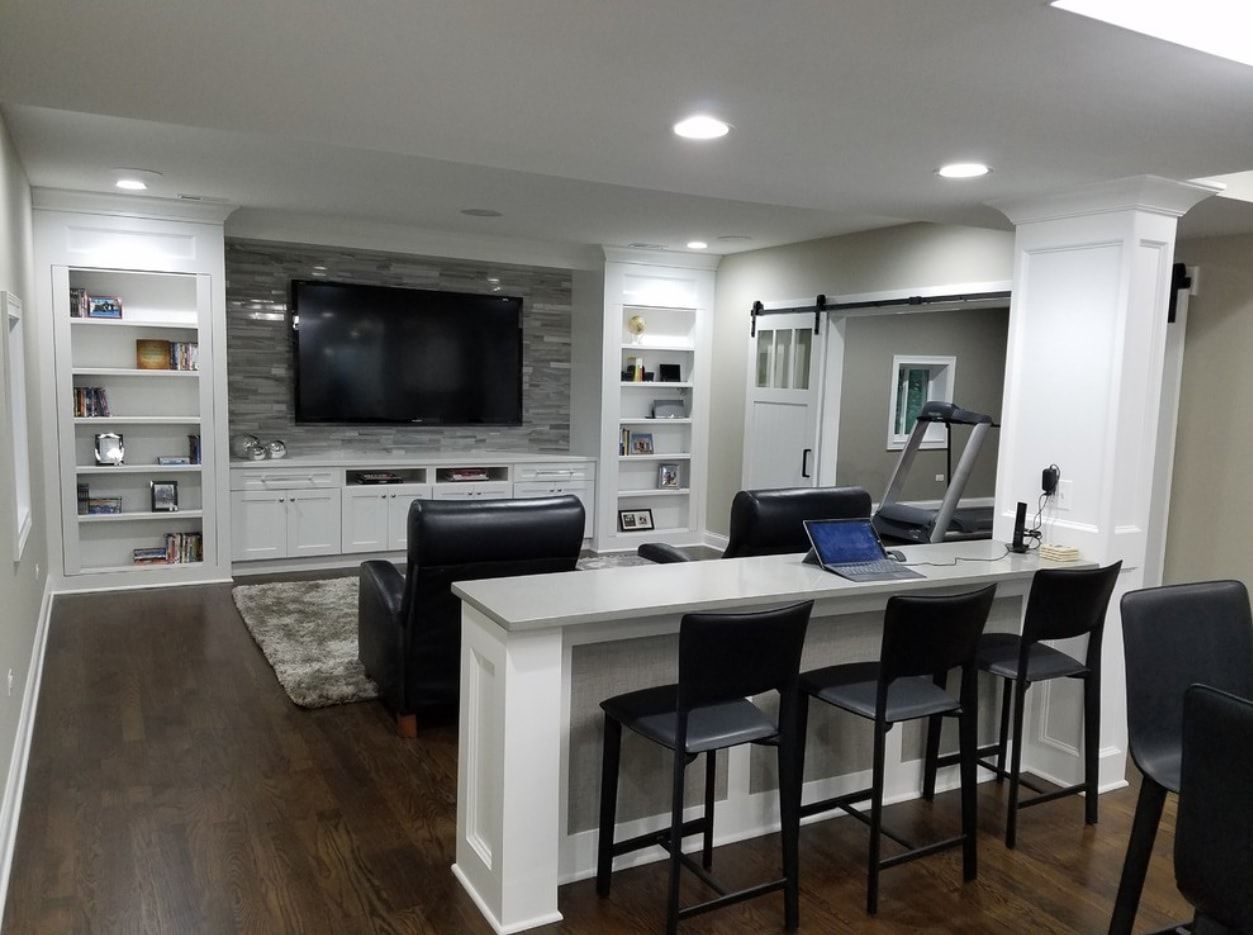 different room types arrangement in basement ideas