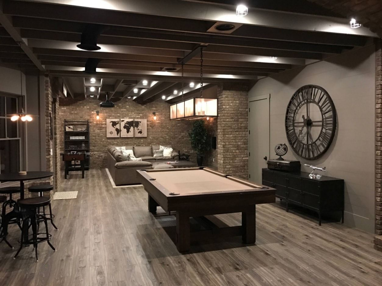 Billiards at zero level finished in Contemporary style