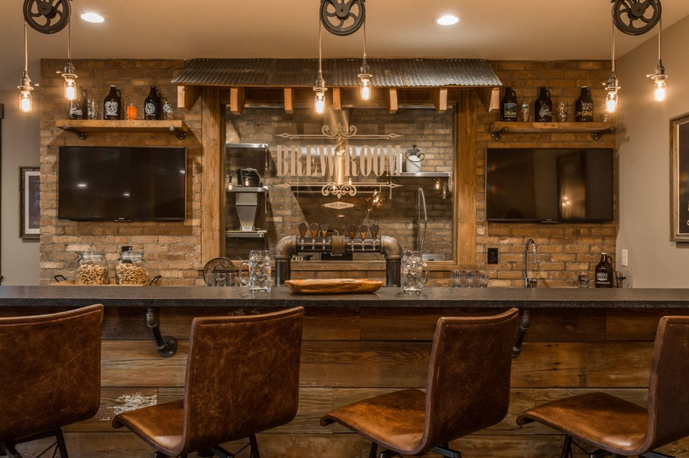 Wooden trimmed Rustic styled mini-bar with brew at the ground level