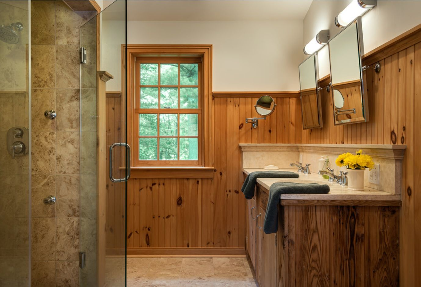 Bathroom with Wainscoting Design Ideas. Light wooden sheathing of the Contemporary interior