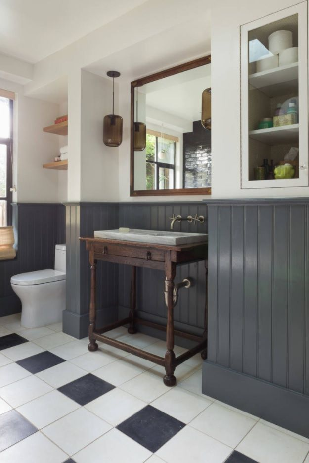 Bathroom with Wainscoting Design Ideas. Dark painted wood