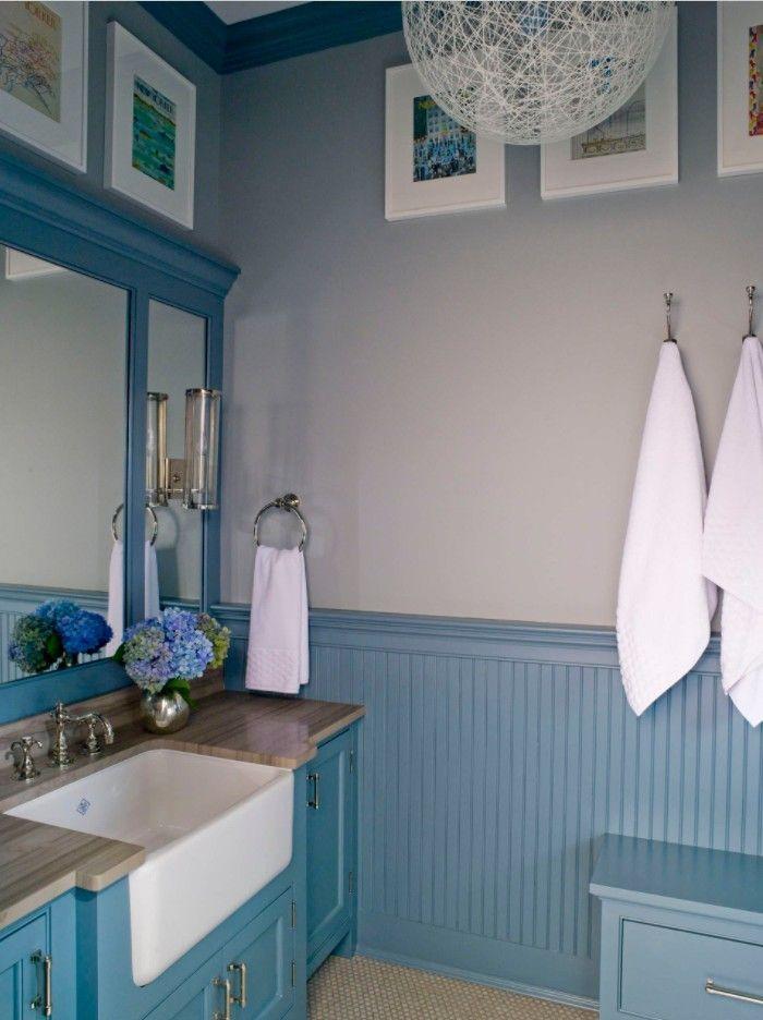 Bathroom with Wainscoting Design Ideas. Blue color scheme