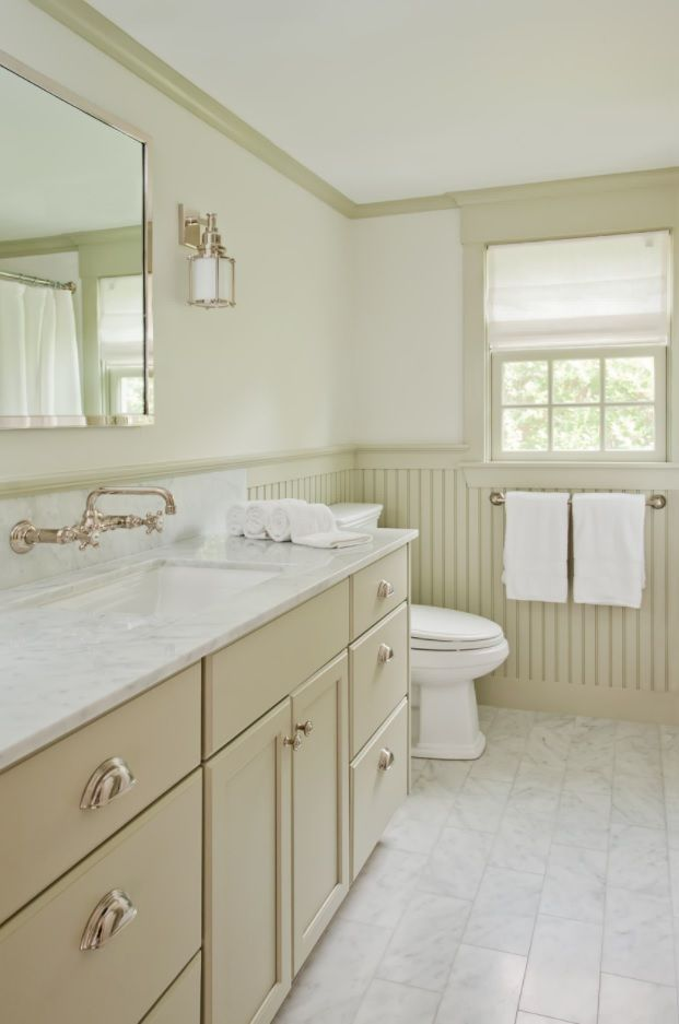 Bathroom with Wainscoting Design Ideas. Creamy light color combination of tints