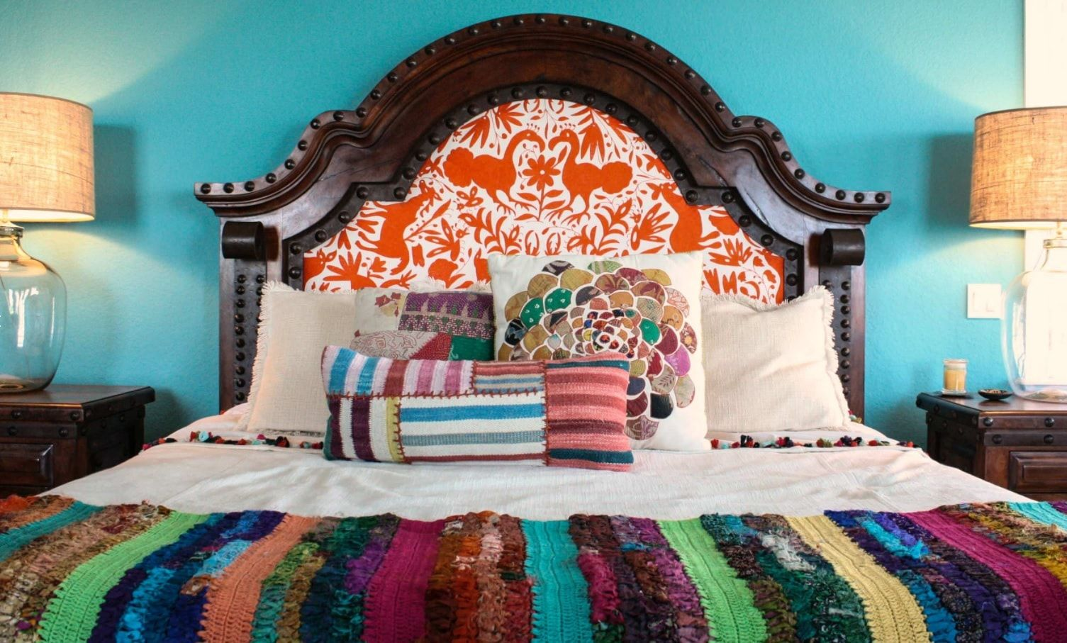 Massive wooden headboard for the Classic decorated bed in the pronounced boho interior