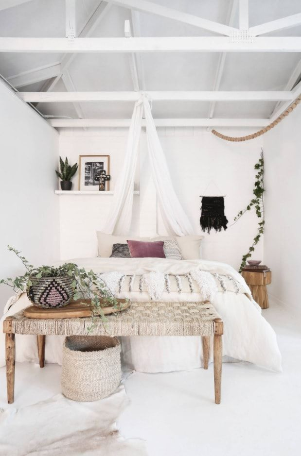 White eco styled boho room in the private house