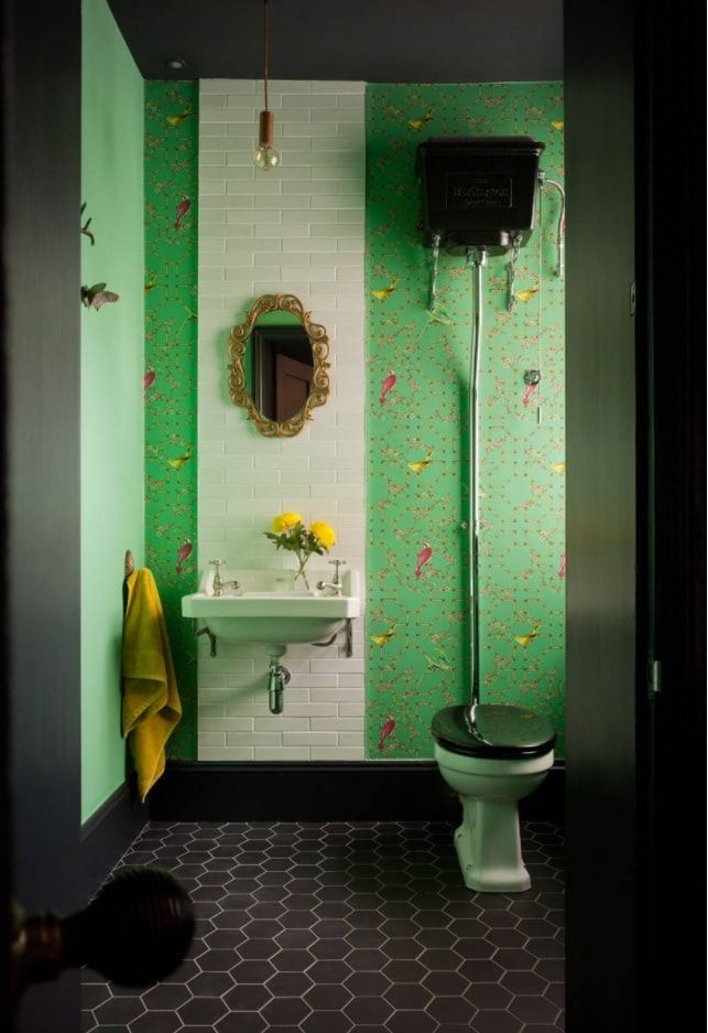 Unusual green wall paint and black toilet seat and cistern along with black floor tile in the boho decorated toilet