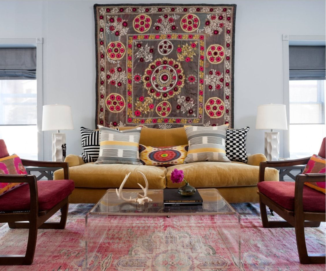 Persian colorful rug for the modern living room interior