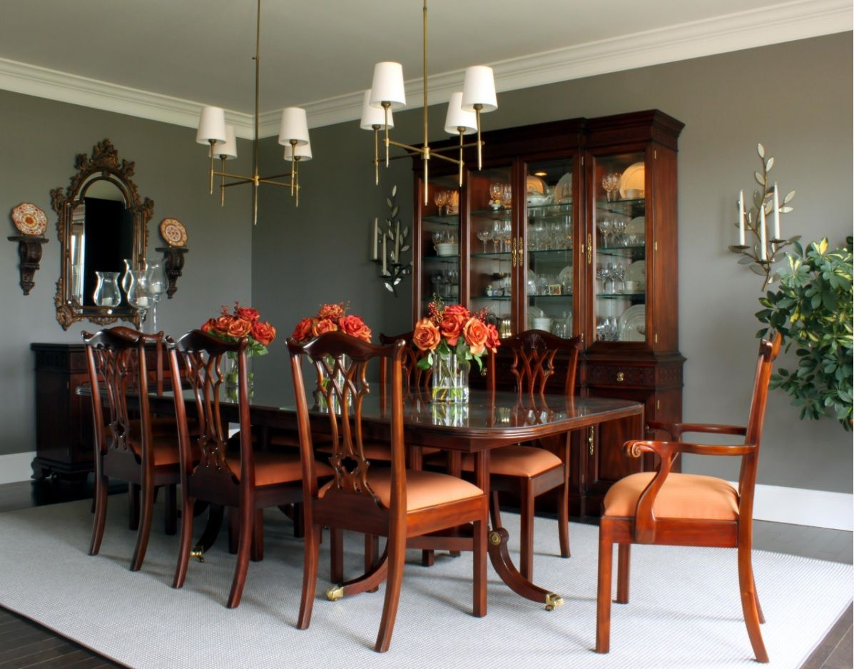 Dining Hall Furniture for Different Apartment Types. Classic setting of the interior full with noble wood