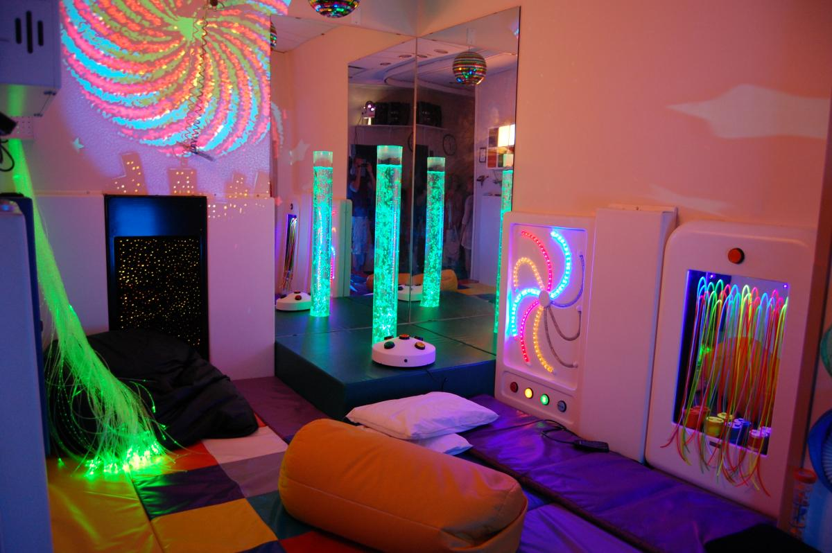 Unusual color spectre in the sensory room for autistic children