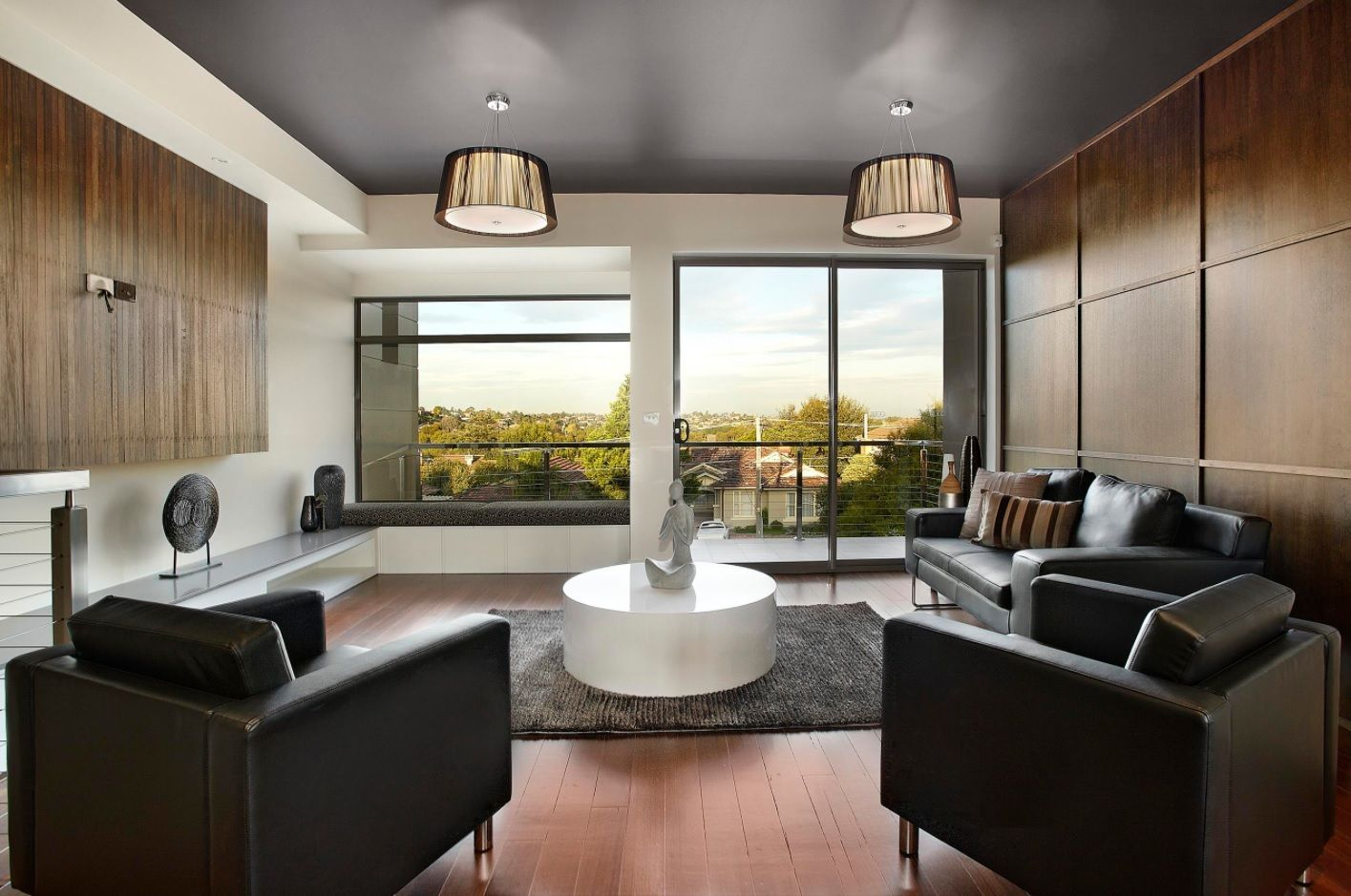 Front Room Furnishing & Design Ideas. Dark accents in light space