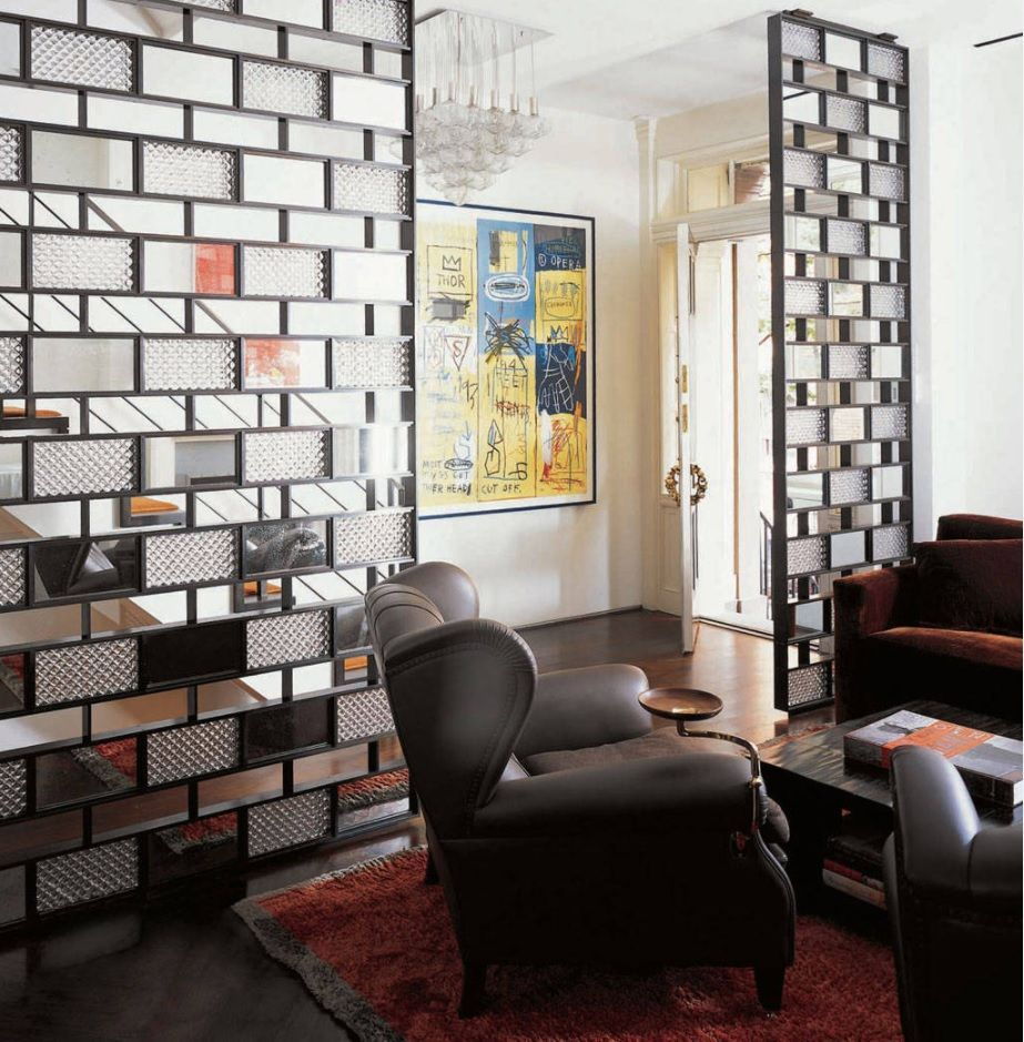 Front Room Furnishing & Design Ideas. Black Classic upholstered furniture and zoning partition